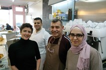 (L-R) Ms Gougeon, Mohamed Helmi, Bashar Helmi, Tasnim Helmi
