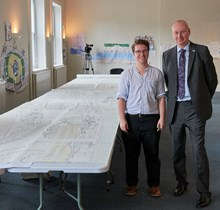 Local artist Victor Szepessy with David Statham managing director at Southeastern