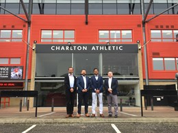 Mitie signs contract with Charlton Athletic-2: Mitie signs contract with Charlton Athletic at The Valley stadium. (L-R) Rob Fredrickson, Managing Director of Creativevents Tony Crosbie, Creativevents Ravi Patel, Commercial Manager of Charlton Athletic Lee Pierce, Creativevents