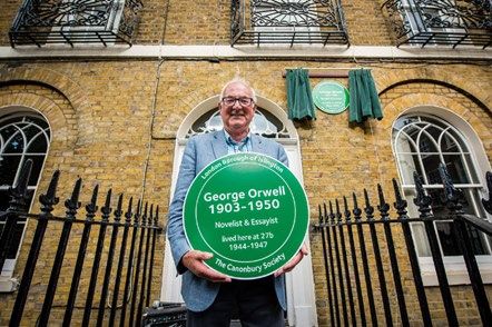 George Orwell's son Richard Blair outside the author's former home in Canonbury Square in 2016