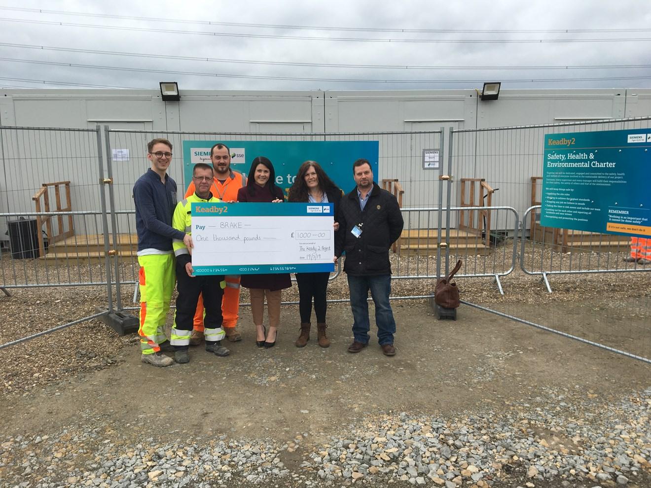 Keadby 2 supports road safety charity BRAKE with £1,000 donation: BRAKEDonationImage