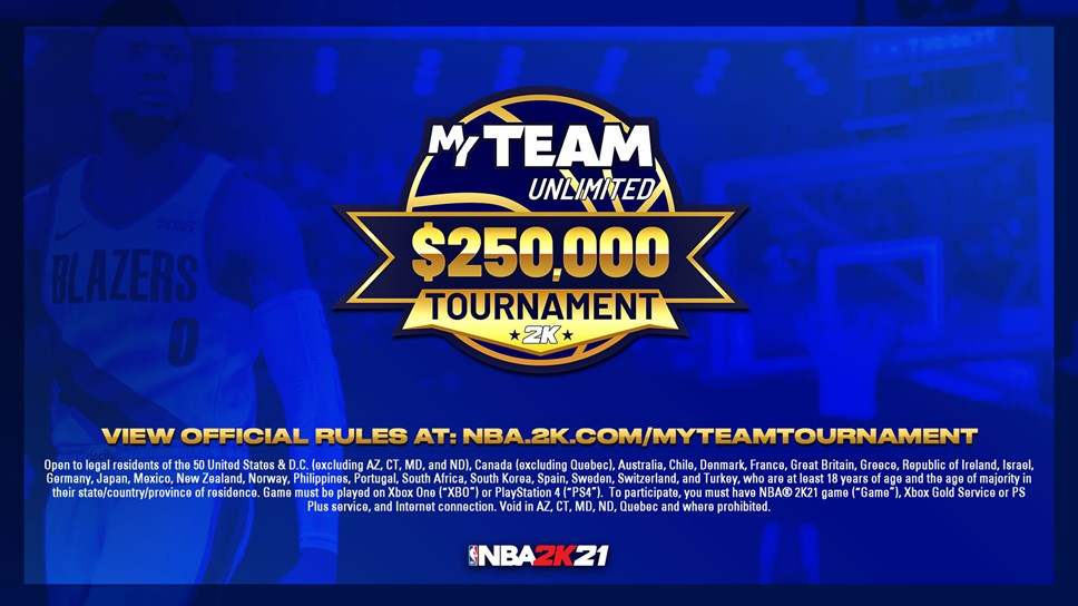 NBA 2K21 MyTeam Unlimited $250,000 Tournament - Abbreviated Rules