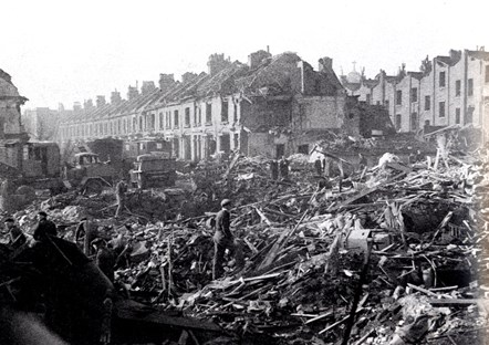 The aftermath of the V2 Rocket attack in Archway, Islington, 5 November 1944. Image Credit: Islington Local History Centre: The aftermath of the V2 Rocket attack in Archway, Islington, 5 November 1944. Image Credit: Islington Local History Centre