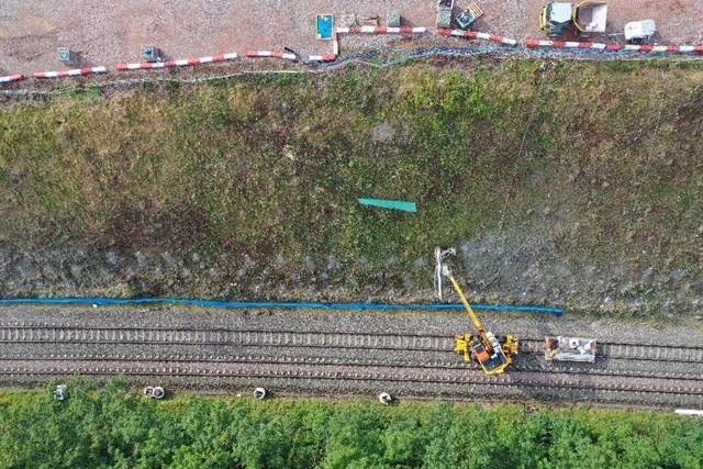 Templecombe aerial shot showing soil nails being driven: Templecombe aerial shot showing soil nails being driven