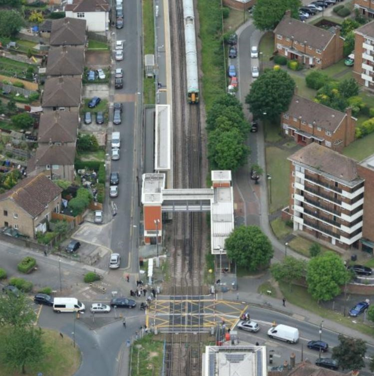 Diversions for motorists and changes to trains in south west London as £45m railway upgrade continues: Mitcham Eastfields, pictured from the Network Rail Helicopter
