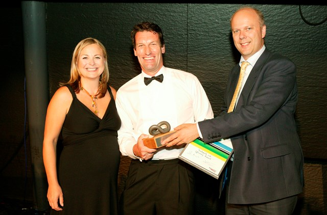 Efficiency Award winner - Trackwork Ltd: Presented to Mark Waind, Managing Director of Trackwork by Philippa Forrester and Chris Grayling, Shadow Transport Secretary.  Trackwork Ltd won the award with its sustainable and environmentally friendly solution for the disposal of railway sleepers