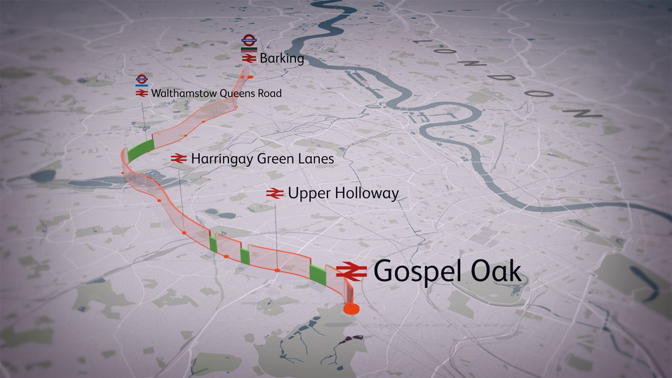 Gospel Oak to Barking electrification works to be complete in time for arrival of new double- length electric trains: Gospel Oak to Barking - map