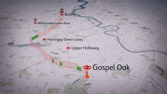 London Overground's Gospel Oak to Barking line to re-open as electrification of the line nears completion: Gospel Oak to Barking - map