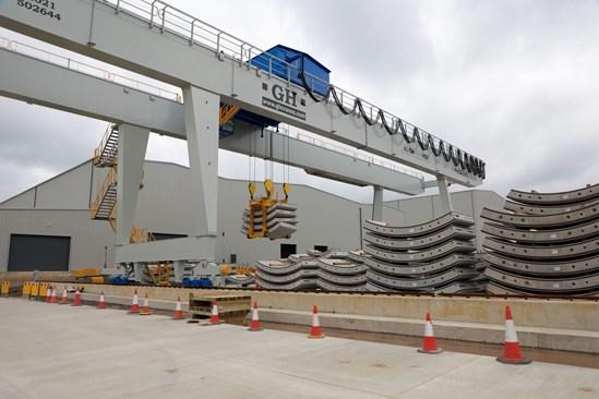 Segment Gantry crane placing concrete tunnel segment onto stacks: Credit: HS2 Ltd