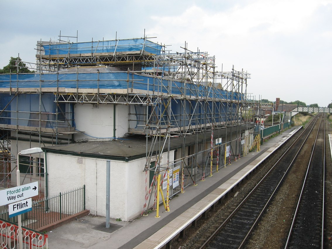 FLINT STATION GETS A FACELIFT: Flint station being restored to its former glory in a project, due for completion in early 2007, by Network Rail, Flintshire County Council and the Rail Heritage