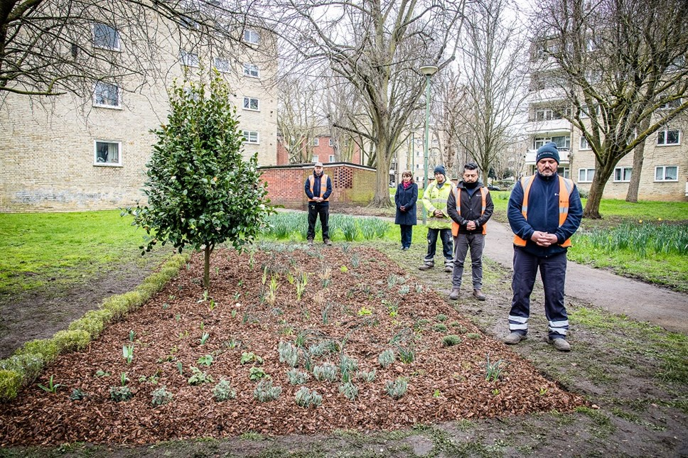 Staff from Islington's Greenspace and Housing teams with a camellia bush planted to mark the one-year anniversary of the first coronavirus lockdown