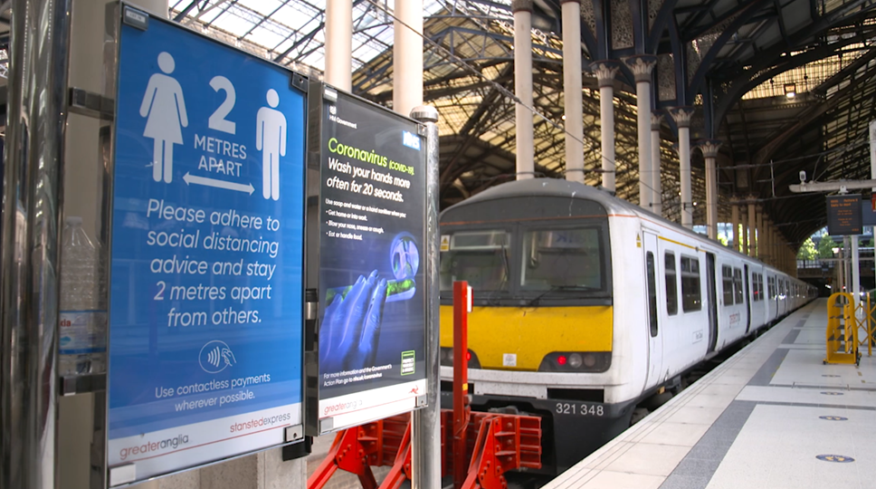 Rail passengers to be alerted to busy trains and stations before leaving home: Social Distancing - Liverpool St Station - Platform