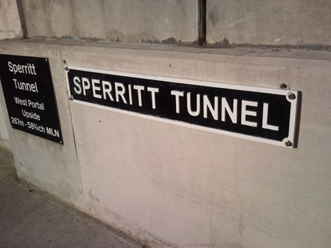 Nameplate of Sperritt Tunnel, named after railway veteran