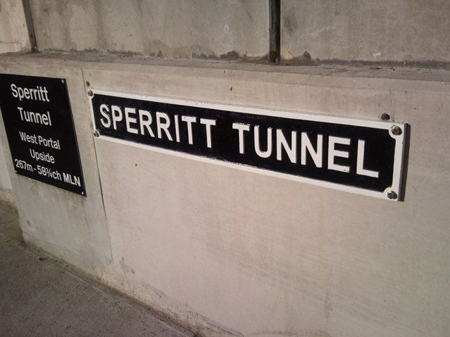 RAIL TUNNEL IN CORNWALL NAMED IN TRIBUTE OF SPERRITT: Nameplate of Sperritt Tunnel, named after railway veteran