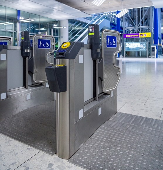 TfL Press Release - TfL to operate Heathrow Connect services ahead of Elizabeth line opening: TfL Image - Ticket gates at Heathrow Airport