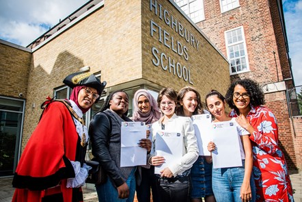Islington students buck national A-level trends: Highbury Fields School on A-level  results day with (L-R) Mayor of Islington, Cllr Rakhia Ismail; Iris Britwum; Maryam Begum; Luiza Sommariva; Jenna Cahusac de Caux; Begum Aksu; Executive member for Children, Young People & Families, Councillor Kaya Comer-Schwartz