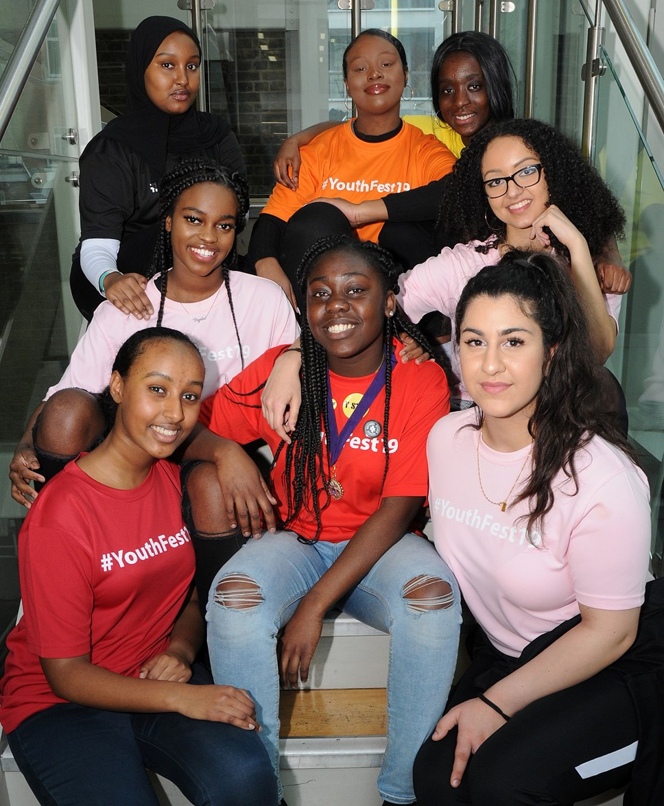 Hundreds of young people join Islington's Youth Council for #YouthFest19: Young Mayor Lydia Banjo (centre) with members of the Youth Council