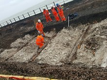 Dover - Trial pits reveal the former trestle: Dover - Trial pits reveal the former trestle