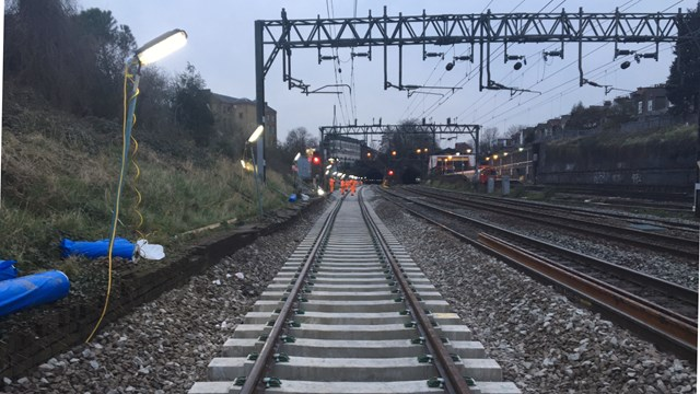 Super-fast work to improve West Coast main line journeys: Previous track renewal at Kensal Green in North London