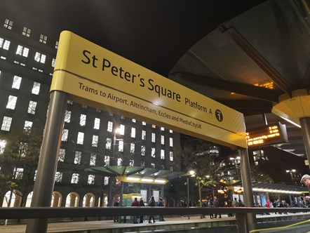 St Peter's Square tram stop: The sign at St Peter's Square tram stop