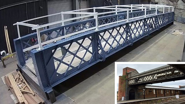 Historic station luggage bridge gets identical replica replacement: Worcester Shrub Hill luggage bridge replacement composite