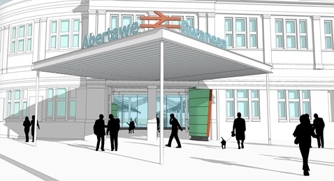 New station facade for Swansea