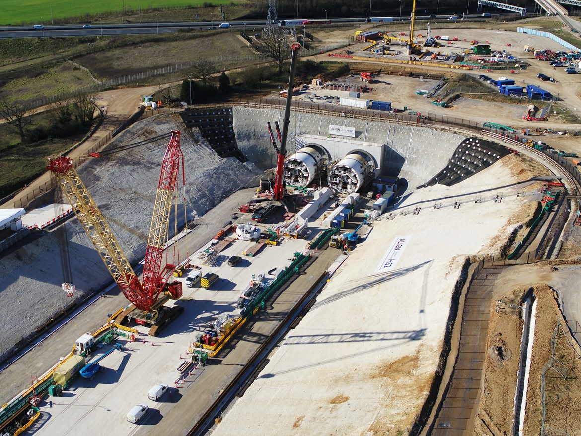 HS2 heralds formal start of construction as a 22,000 'jobs boost' for Britain: South portal chiltern tunnel progress March 2021 2