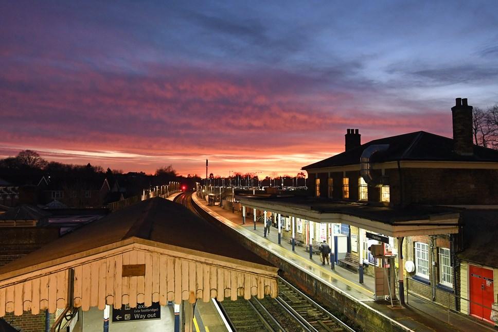 Sunset over Farnham station, Surrey