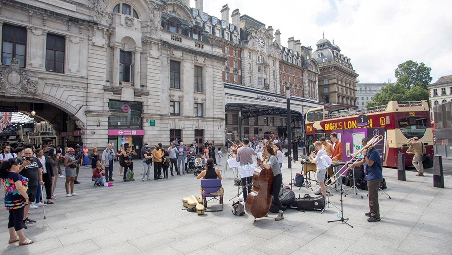 """""""What a performance!""""- South London stations put on a grand finale for the summer getaway: Shadwell Music Victoria Station"""