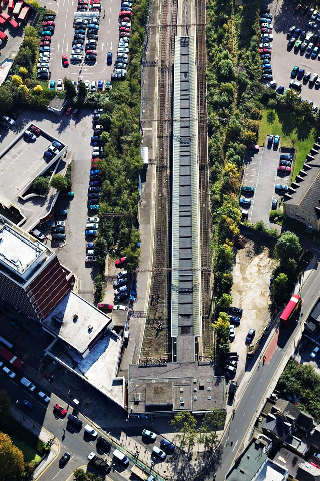 Enfield Station aerial: Aerial view of Enfield station