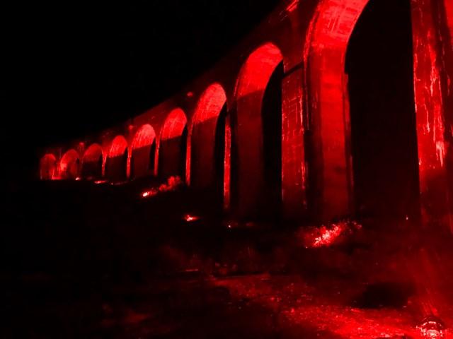 Glenfinnan viaduct turns red for nation's fallen: Glenfinnan 2-2