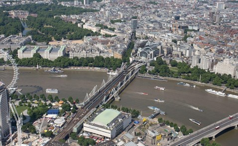 Aerial shot of Charing Cross station
