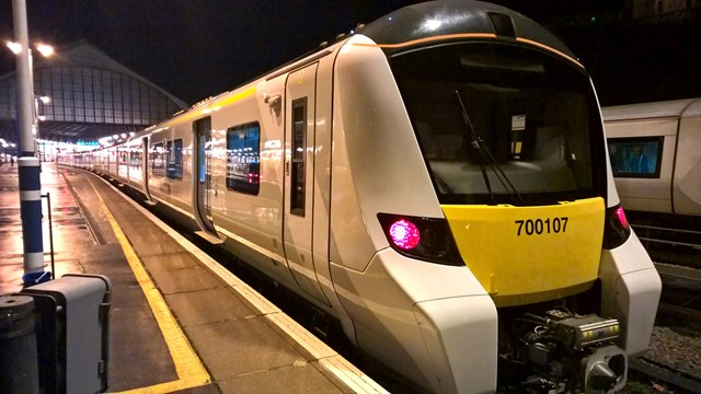 Class 700: A Thameslink Class 700  train built by Siemens, on test at Brighton