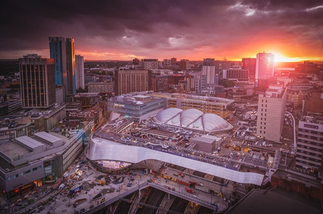 Passengers advised to plan their travel as Birmingham gears up for Christmas crowds: Birmingham New Street at sunset