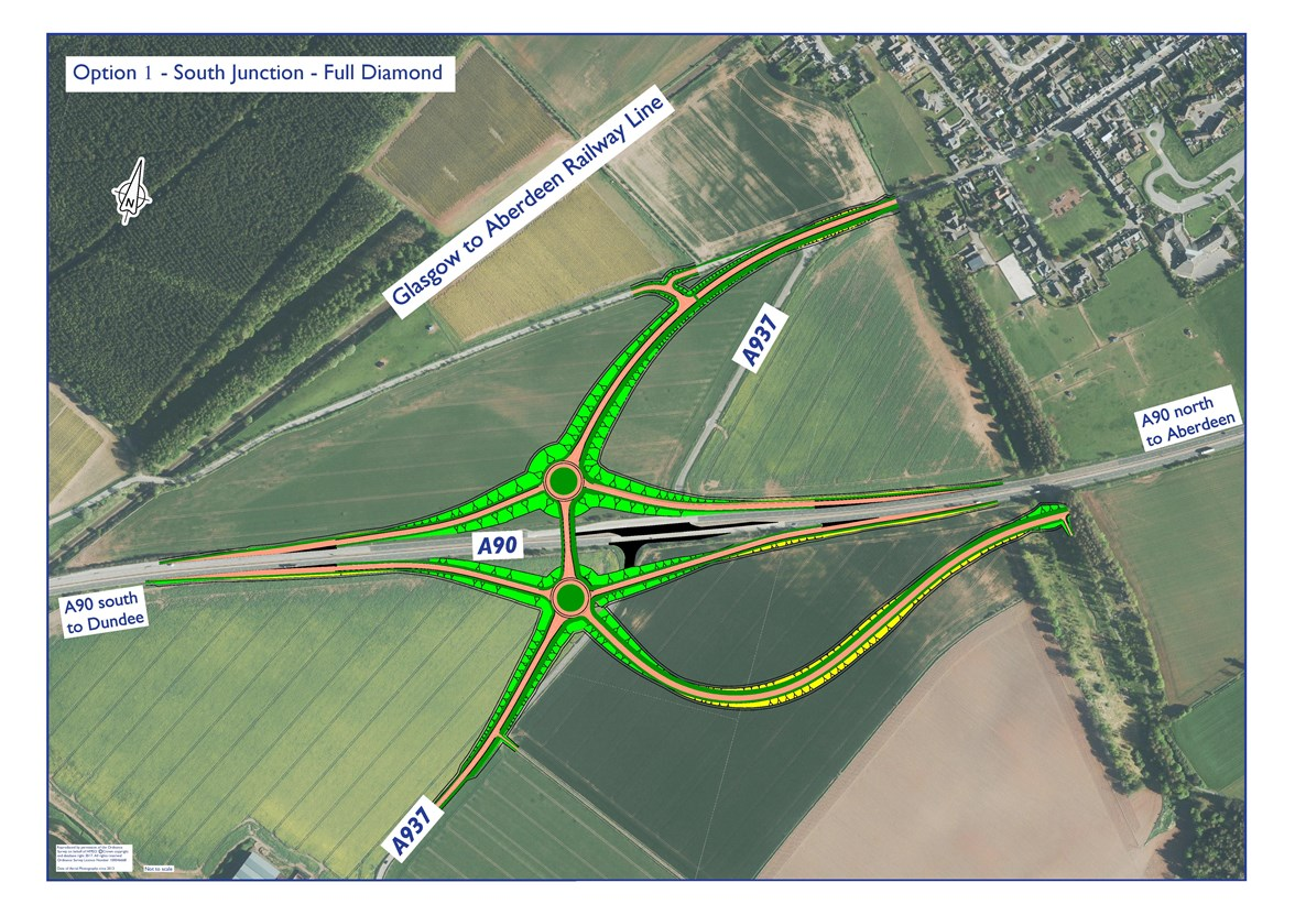 A90-A937 Laurencekirk Junction Improvement  - Option 1- Full Diamond Option