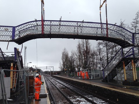 Removing old atation footbridge