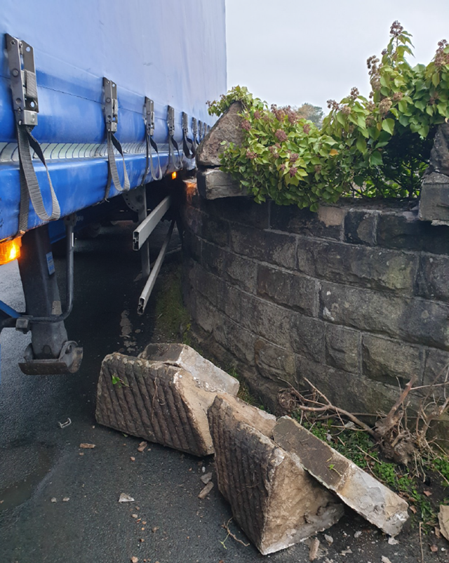 Damage caused to the bridge wall on Burrow Road in Galgate
