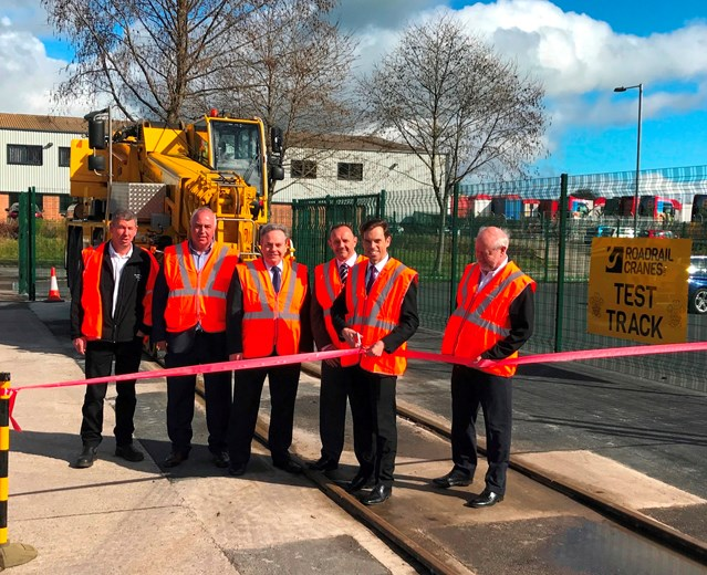 Network Rail carries out work in North Wales to provide a more reliable railway: Andy Thomas RMD, Newtork Rail Wales and Welsh Government Economy and Infrastructure Secretary, Ken Skates AM at the opening of the new Road Rail Cranes test track facility