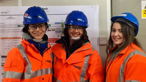 Danielle Lahan from Network Rail (L), Trudy Harrison MP (C), Sophie Quinlan, site supervisor for MacRail (R)