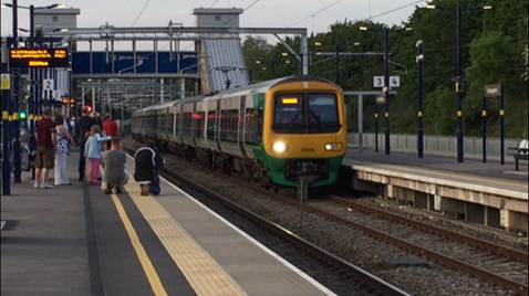 Test electric train at Bromsgrove station
