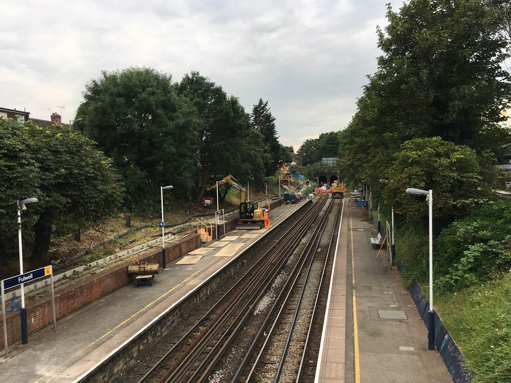 PICTURES: Good news for passengers as Network Rail completes two weeks of upgrade works in London: Fulwell drainage works: in order to install the new drainage system, Network Rail's engineers worked 24 hours a day for two weeks