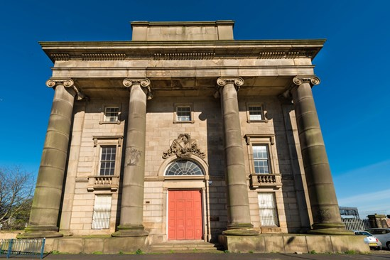 Exterior of the Old Curzon Street Station in Birmingham: Credit: HS2 Ltd. (Stations, Architecture, Building, Birmingham, History) Internal Asset No. 4295