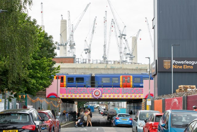 Network Rail teams up with local council to bring 'Happy Street' to Battersea: Happy Street bridge with BPS Luke O'Donovan 1200px