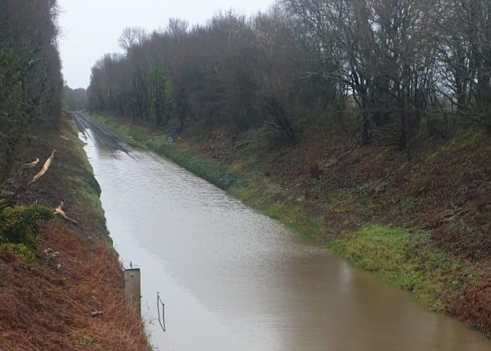 Flooding at Sway means reduced services between Winchester and London Waterloo on Monday 17 February: Sway flooding 16022020 1