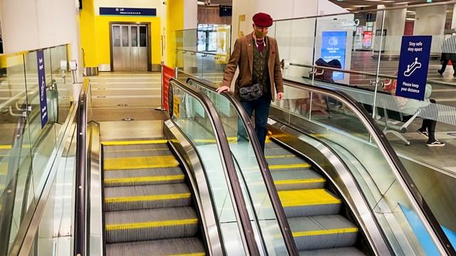 Birmingham New Street escalator handrail stock shot