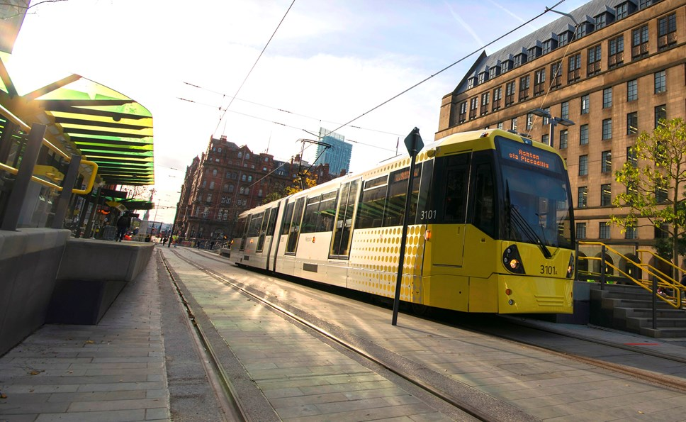 Metrolink tram at St Peter's Square stop