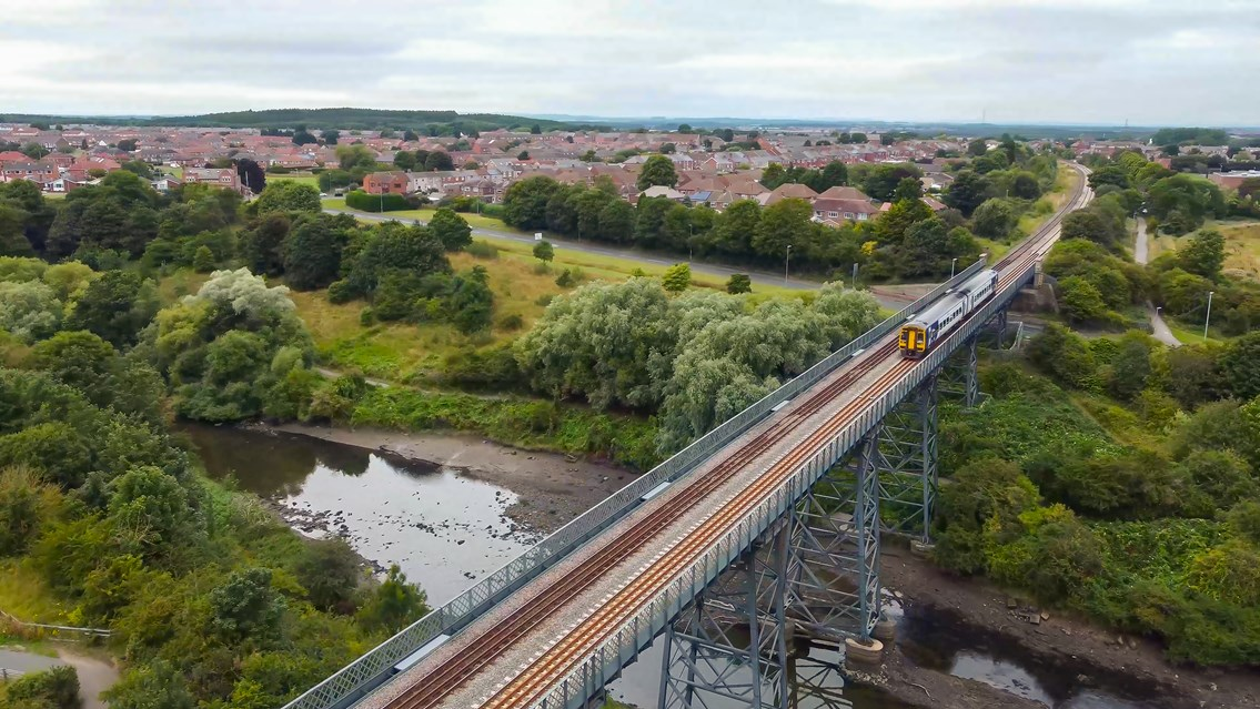 First trains travel on proposed Northumberland Line route: Bedlington Railway Bridge