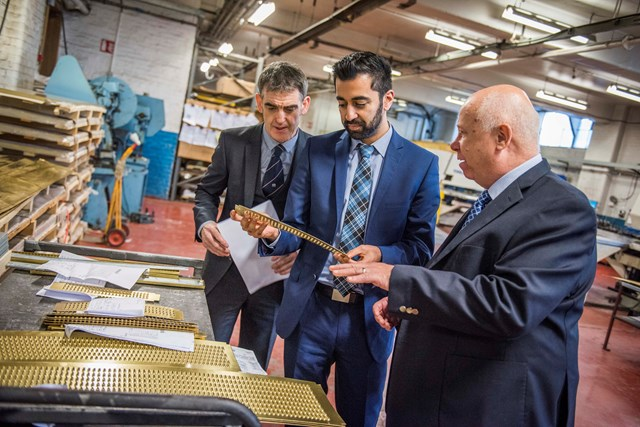 Visit to G&M Radiators, Glasgow. John McGeady, G&M Radiator Manufacturing Business Development Manager, Humza Yousaf, Minister for Transport & the Islands, John Blake, G&M Radiator Manufacturing Managing Director