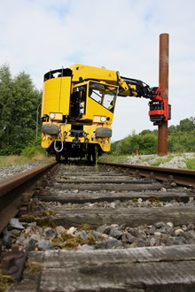 The piling rig gets to work on Netwok Rail's engineering train: The piling rig gets to work on the HOPS, electrification train.