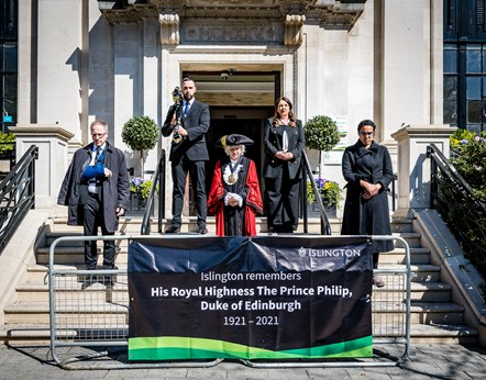 National silence for HRH The Duke of Edinburgh: Front row, from left: Leader of Islington Council Cllr Richard Watts, Mayor of Islington Cllr Janet Burgess, Deputy Leader Cllr Kaya Comer-Schwartz. Top row, from left: Mace Bearer Sertan Hassan, Islington Council CEO Linzi Roberts-Egan.